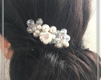 Pink Rose crystal discreet bloom hair jewelry bridal jewelry hair combs ivory flower jewelry wedding coats fur Jewelery Bride