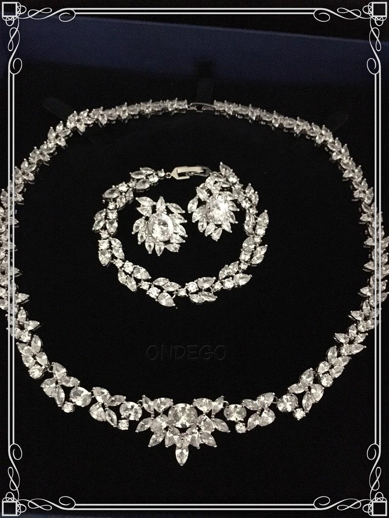 Cubic Zirconia Bridal Jewelry set silver rhinestone wedding Jewelry Bridal Jewelry Silver