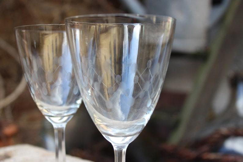 5 wine glasses etched glass 50s GDR GDR