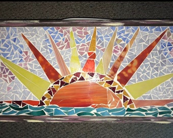 Beautiful handmade sunset mosaic with frame