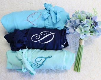 Bridesmaid robes in light blue, long robe bridesmaid, lace robe for women, bridesmaid robes lace trim , spa robes for girls