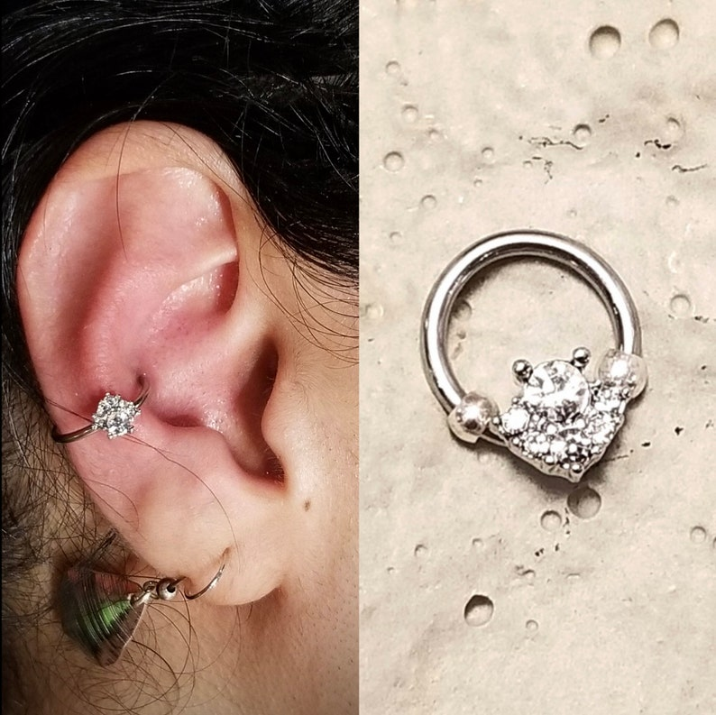 Septum Daith Rook Orbital Inner Conch Nipple Silver Crystal Jewelry Piercing Steel Surgical 316l Earring Cartilage Helix Tragus 16g 18g