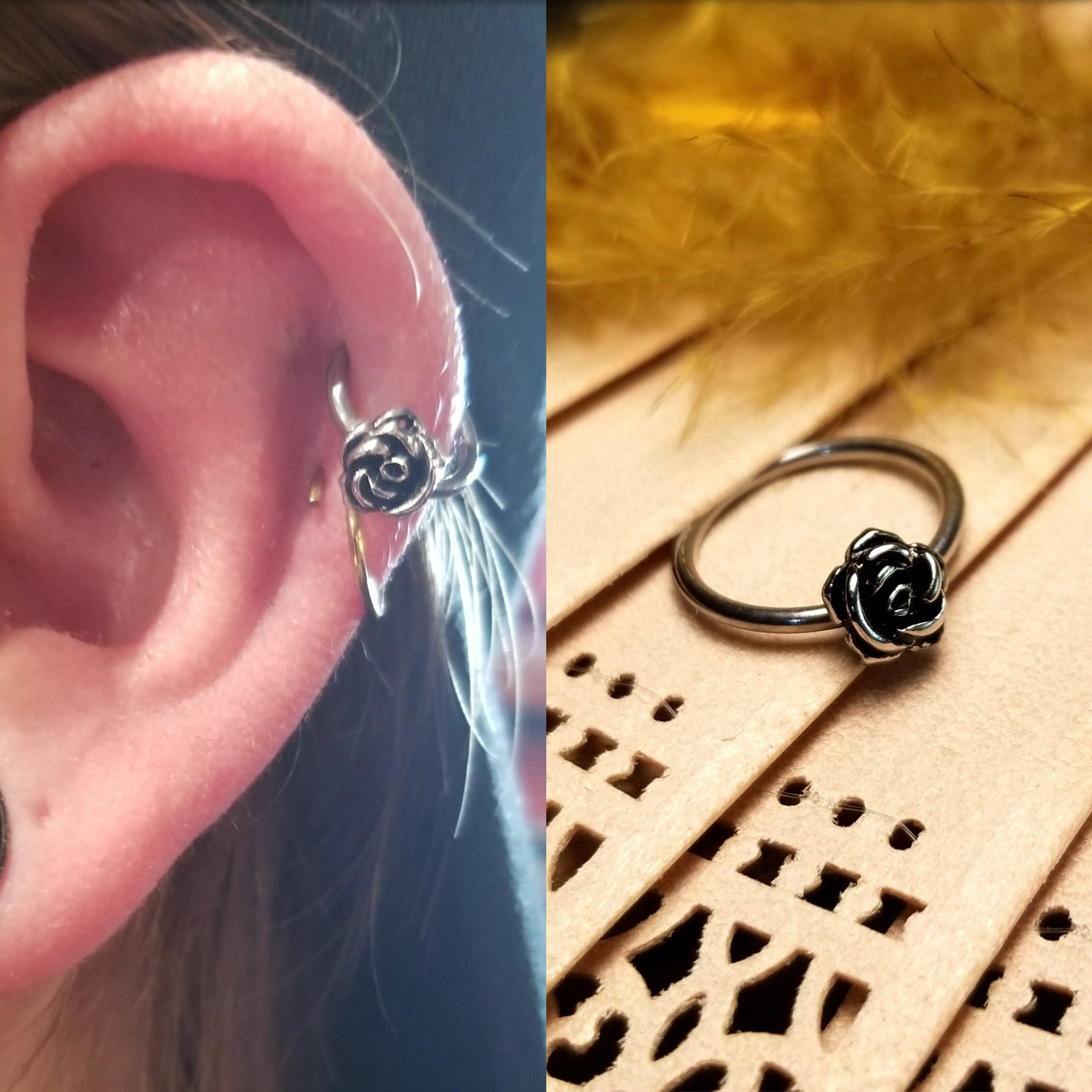 Orbital Inner Conch Silver Vintage Victorian Rose Steel Surgical 316l Hoop Earring Cartilage Helix Tragus Daith Ring 16g 18g