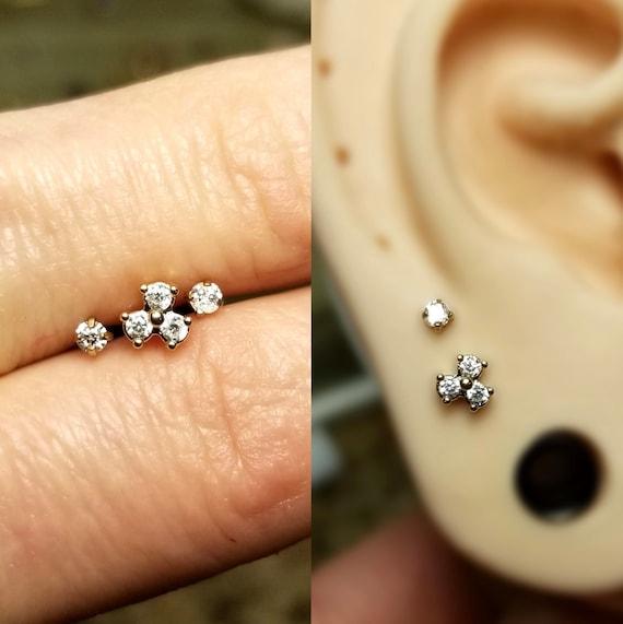 Covet Jewelry 316L Stainless Steel Internally Threaded Triple Helix//Cartilage Earrings