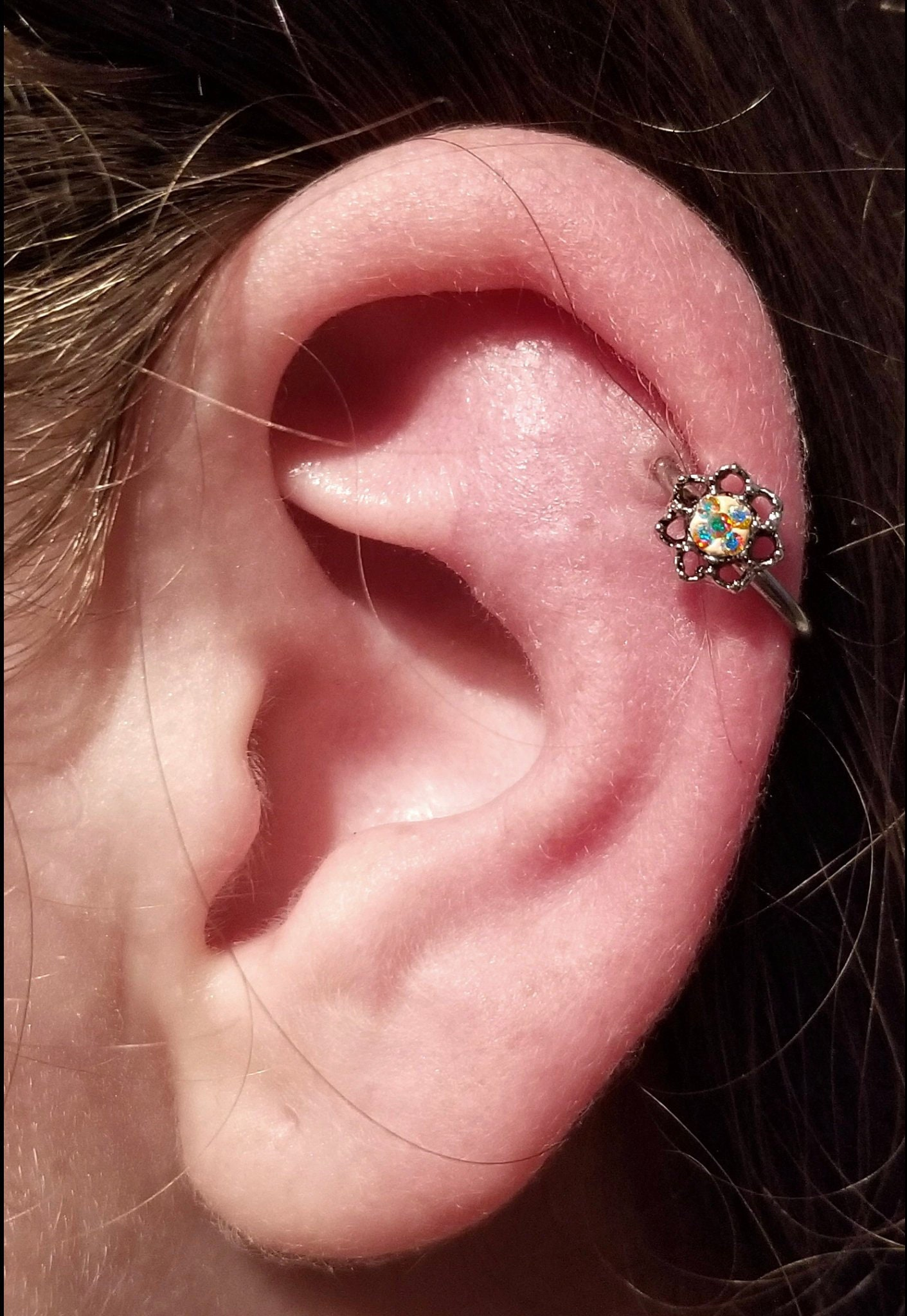 Orbital Inner Conch Ab Silver Vintage Victorian Rose Steel Surgical