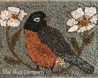 Star Rug Company ~ Spring Robin primitive rug hooking pattern