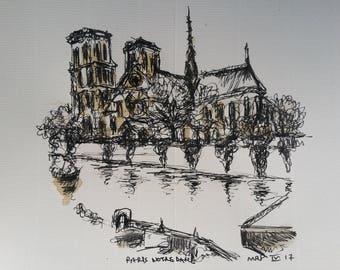 Notre Dame de Paris on the Seine river