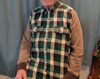 Men's green buffalo plaid Shirt Front Bib