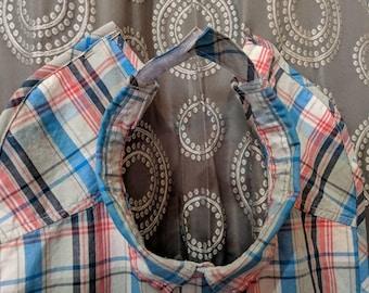 Teen plaid shirt front bib