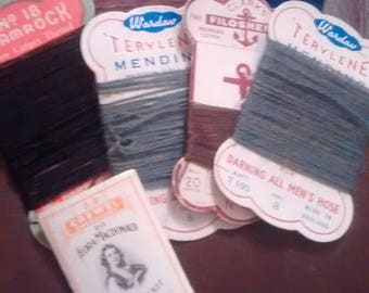 Selection of Make Do and Mend Darning Threads & Flora Macdonald Needles