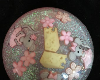 MICE and CHEESE Resin Paperweight