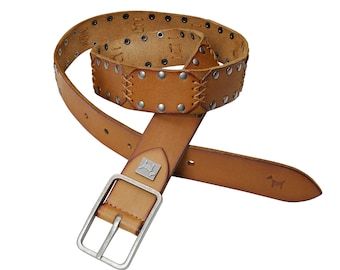 """""""Destone"""" belt with studded skin for men and women. Width 35 mm. Leather belt. Tack belt."""