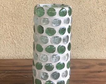 "Vase; Green/White Glass ""Jacqueline Collection"""