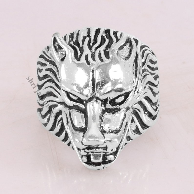 Gift Jewelry Birthday Ring Unisex Designer Ring Silver Plated Boho Ring Antique Open Mouth Lion Silver Spoon Ring Protection Ring