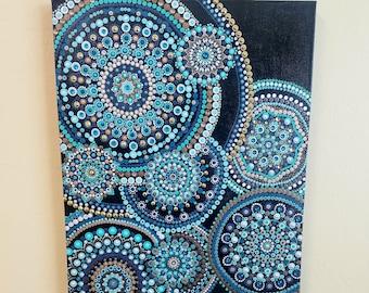 Ripple- hand painted dot mandala painting on boxed canvas