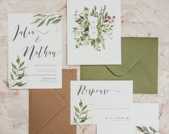 Wedding Invitation - Lace Leaf