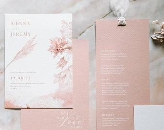 Wedding Invitation - Love Story - Nude Boho Collection