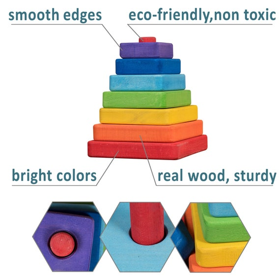 Natural Wooden Cockerel Pyramid Tower Toy Kids Baby Education Building Stacking