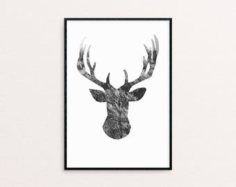 Deer/Wood | Nature | Minimalistic | Black And White | Wall Decor | Last Minute Gift | Home | Design | Modern | Printable Wall Art
