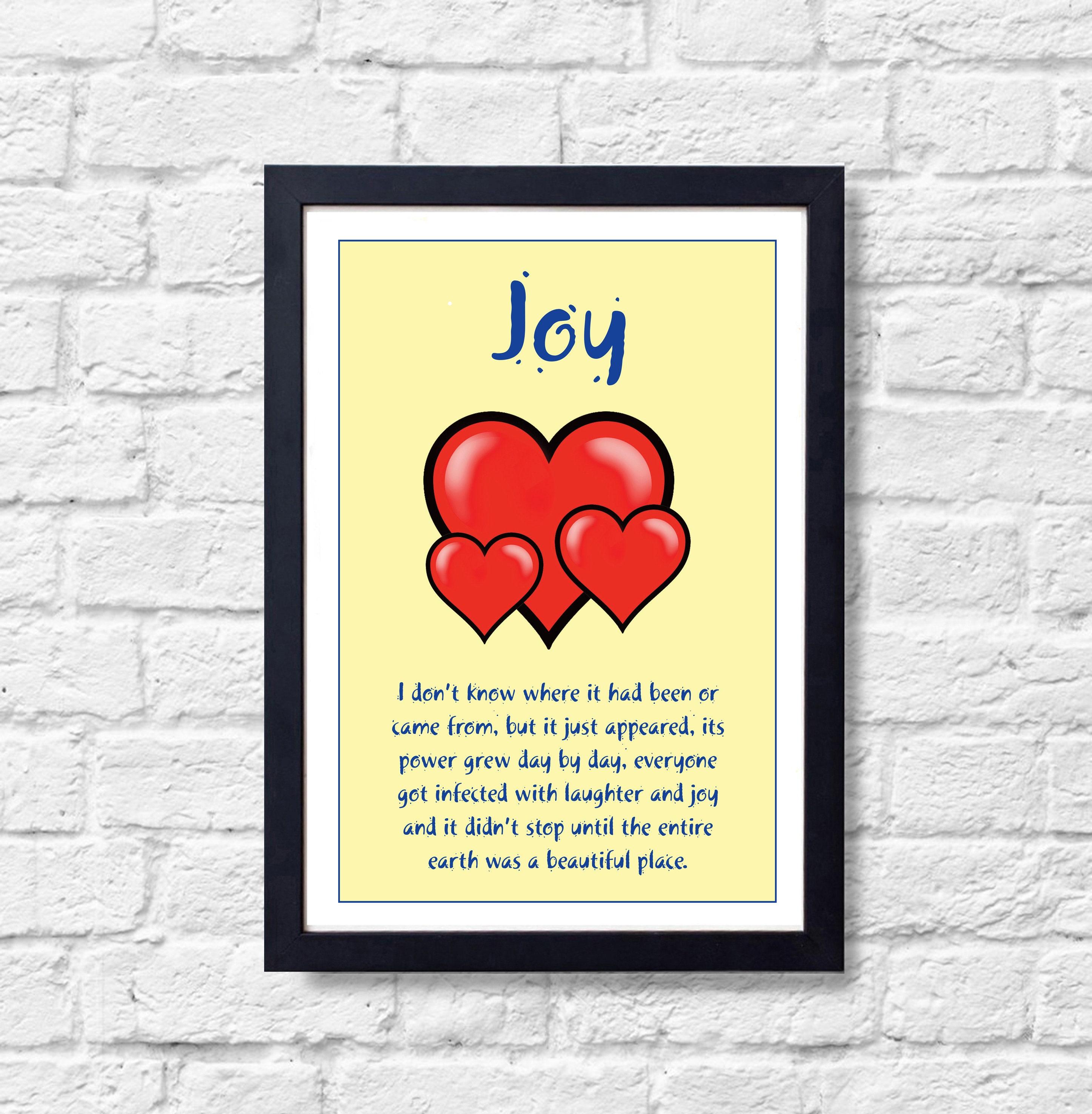 Joy Wall Art Cartoon Humorous Room Poster Red Heart | Etsy
