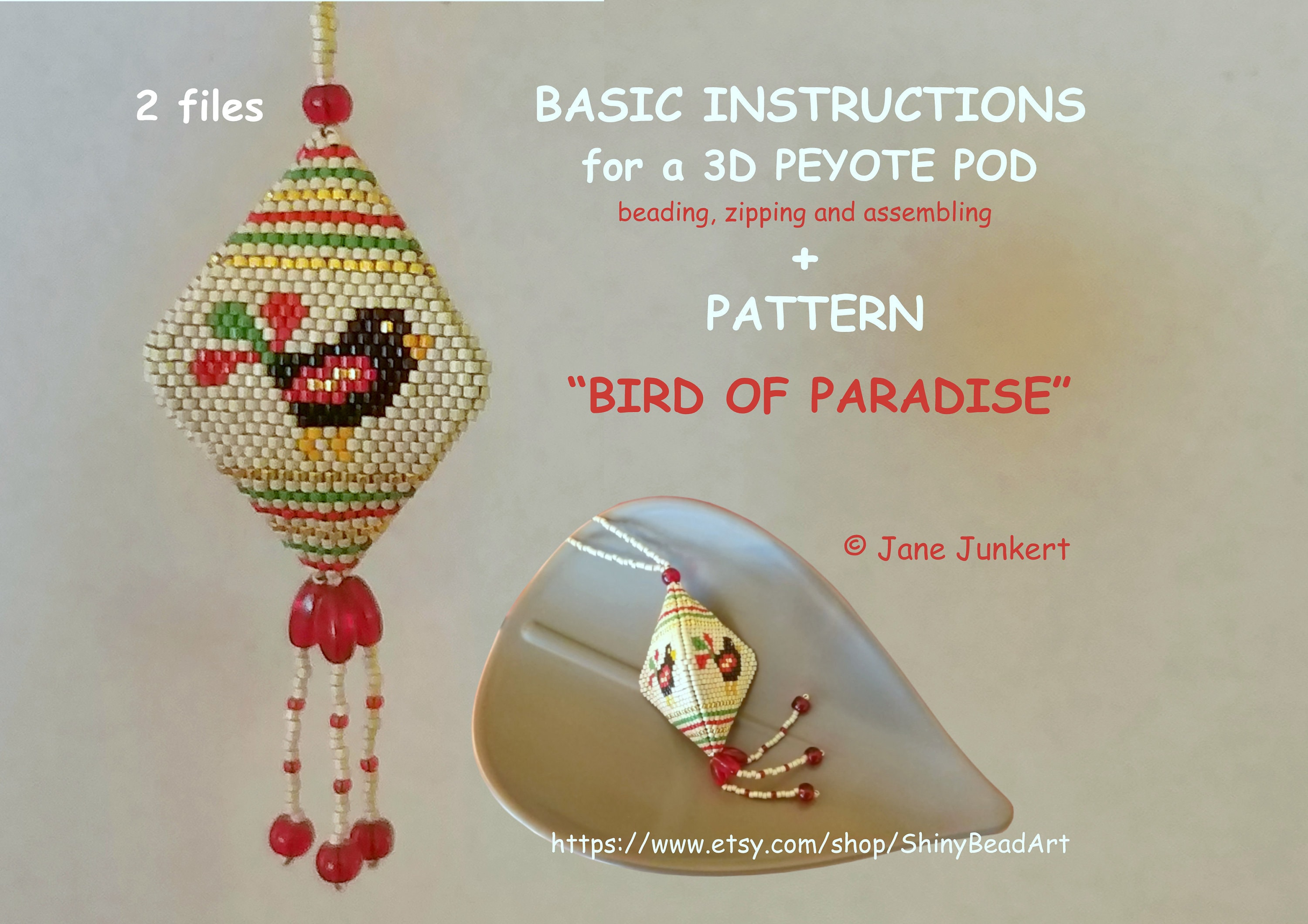THE GNOME/'S WIFE   3D Peyote Pod Pattern  pdf English  with many Graphics and Word Chart