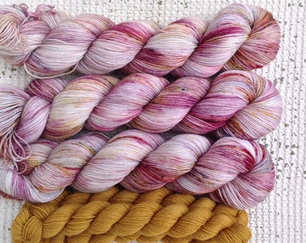 Vanity Fair Sock Set - Hand Dyed Sock Yarn - Superwash Merino Nylon 4 Ply Fingering Weight - Pink Purple Gold Blue