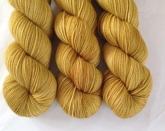 Golden Fleece - Luxury Hand dyed high twist sock yarn - superwash merino cashmere nylon fingering weight - golden yellow