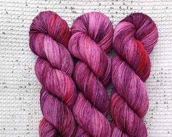 Very Berry - Hand dyed sock yarn - superwash merino nylon 4 ply fingering weight - pink purple red