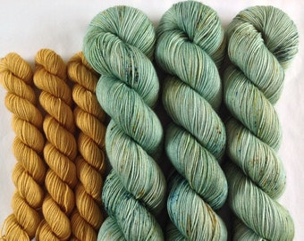 Bletchley sock set - Hand Dyed Sock Yarn - Superwash merino nylon 4 ply fingering weight - Green Speckled Gold