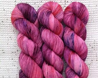 Very Berry - Luxury Hand dyed high twist sock yarn - superwash merino cashmere nylon - pink purple red