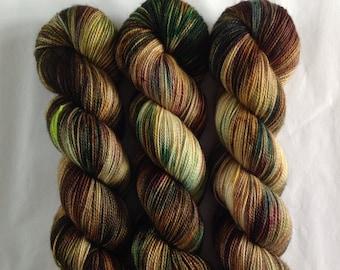 Fellside - Luxury hand dyed yarn - superwash merino cashmere nylon fingering weight - brown green