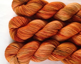 Fireside - Hand dyed sock yarn - superwash merino nylon 4 ply fingering weight - orange brown speckled
