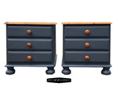 Pair of Ash colour Pine matching Bedside Tables, Nightstands, Lamp Tables, Side Tables, Office Furniture hand painted UPCYCLED