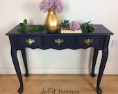 Victorian Antique Writing Desk Bureau Dressing Console Table Hallway Storage Office Furniture hand painted in Fusion Mineral Paint Upcycled