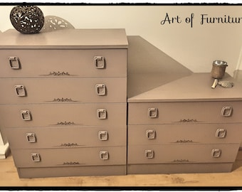 """Two Matching Wooden Chests of Drawers Hand Painted in ANNIE SLOAN Coco Chalk Paint """" Upcycled """""""