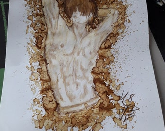 """Original drawing Coffee Watercolor title """"Coffee to Stay"""" din A3"""