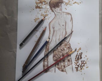 """Original drawing Coffee watercolor title """"Coffee Explosion"""" DIN A3"""