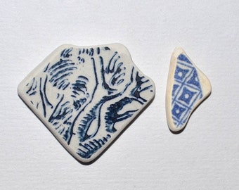 Blue Sea Pottery Pieces, Greek Sea Pottery, for Earrings / Necklace, Ceramic Pendant, Jewelry Supplies, Beach Pottery Shards