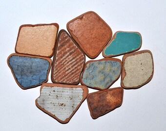 Brown Blue Sea Pottery 9 Pieces, Sea Ceramics, Greek Sea Pottery, Beach Pottery, Sea Terracotta, Mosaic Supplies, Craft Tiles
