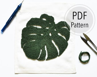 Monstera Leaf Punch Needle Embroidery Pattern