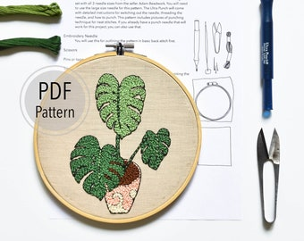 Monstera Plant Punch Needle Embroidery Pattern