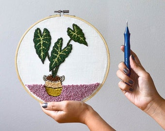 Alocasia Plant Punch Needle Embroidery Pattern