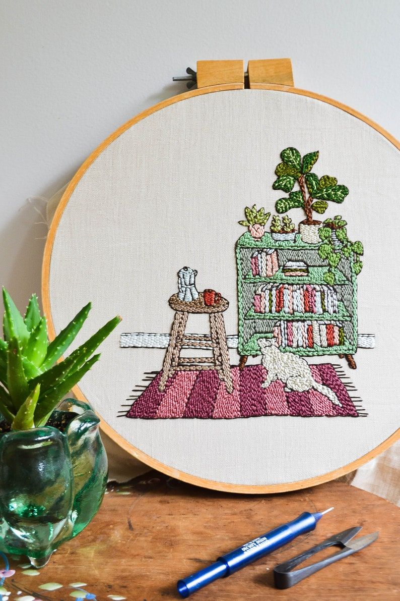 Cozy Reading Nook Punch Needle Embroidery Pattern image 0