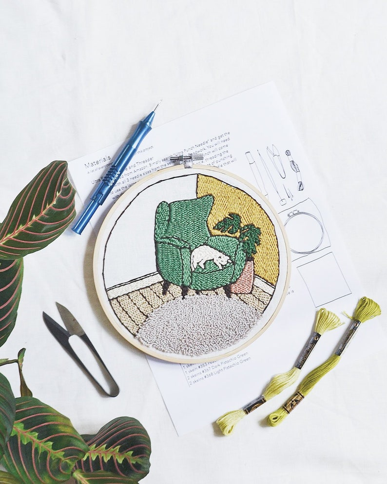 Cozy Corner Punch Needle Embroidery Pattern image 0