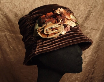 Soft Velvet Cloche Hat with Ombre Flowers