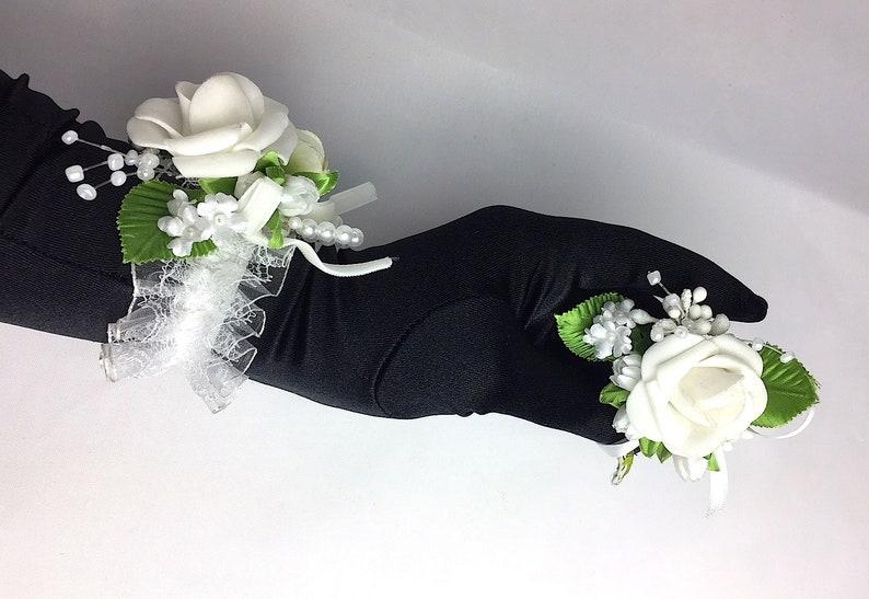 Corsage Creations Narrow Ice Iridescent Corsage Flower Bracelet Weddings