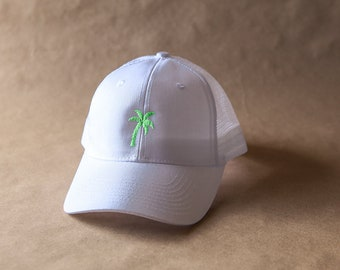 64d549bc000d7 White trucker hat with Embroidered Green Palm Tree. The perfect beach or  pool hat!