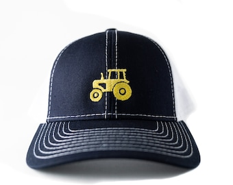 f2ab1ad5f6d65 Toddler Child Youth Trucker hat with Embroidered Yellow Tractor