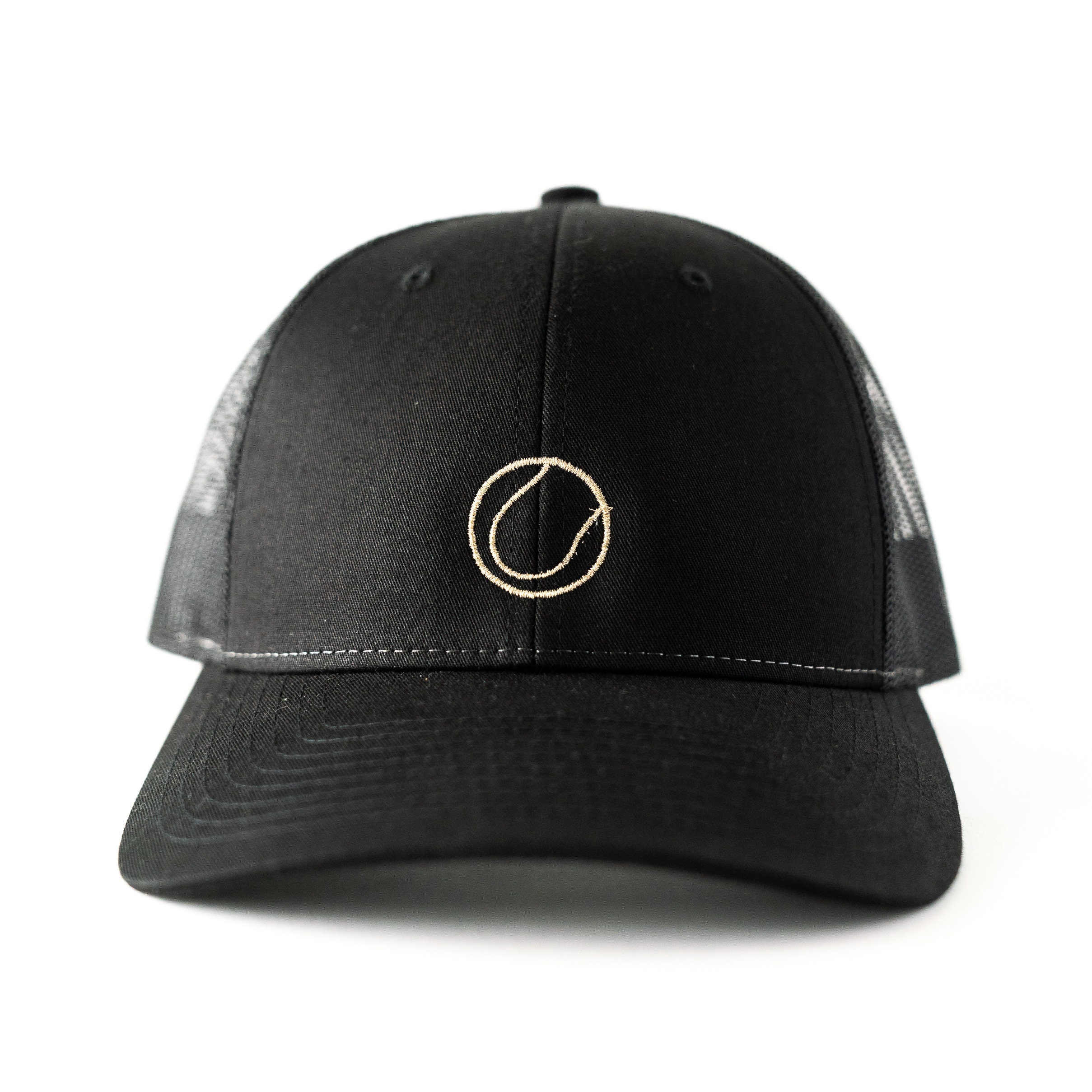 436280b551aed Embroidered Black Trucker Hat with Gold Metallic Tennis Ball