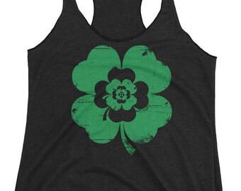 Irish Rose Shamrock St. Patrick's Day Shirt Women Racerback Tank Top Black